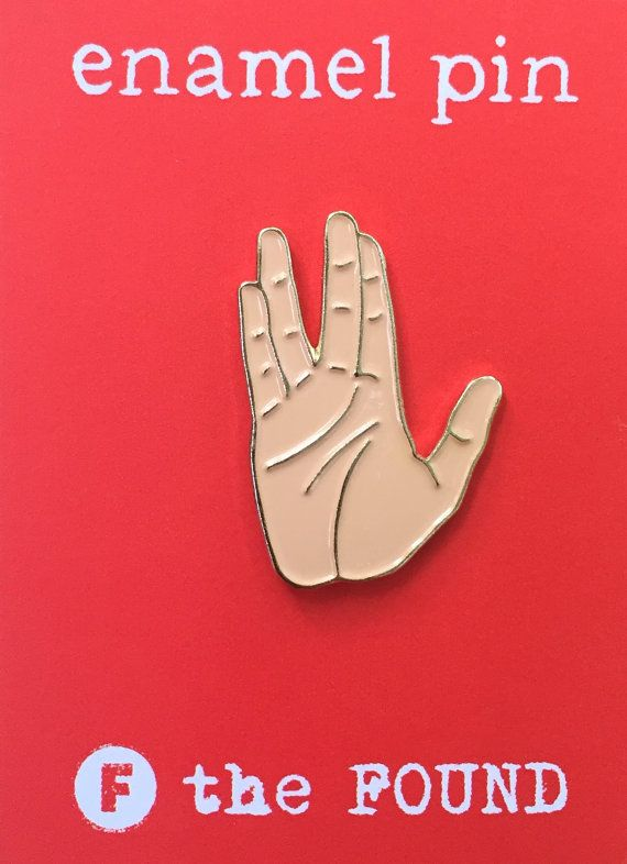 The Vulcan salute, Live Long & Prosper! Spock Hand  Enamel pins are fun, quirky & retro. Wear them on your denim jacket, blouse or backpack.  Our