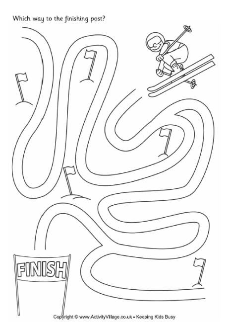 Ski maze: Winter Olympics Crafts for Kids. #StayCurious