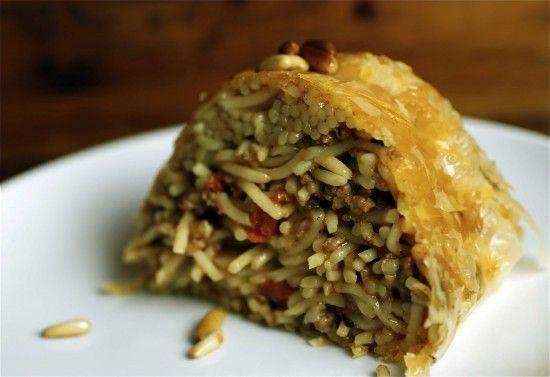 Spaghetti cake with Kashkaval cheese (Macaroni bel-furn) - Taste of Beirut