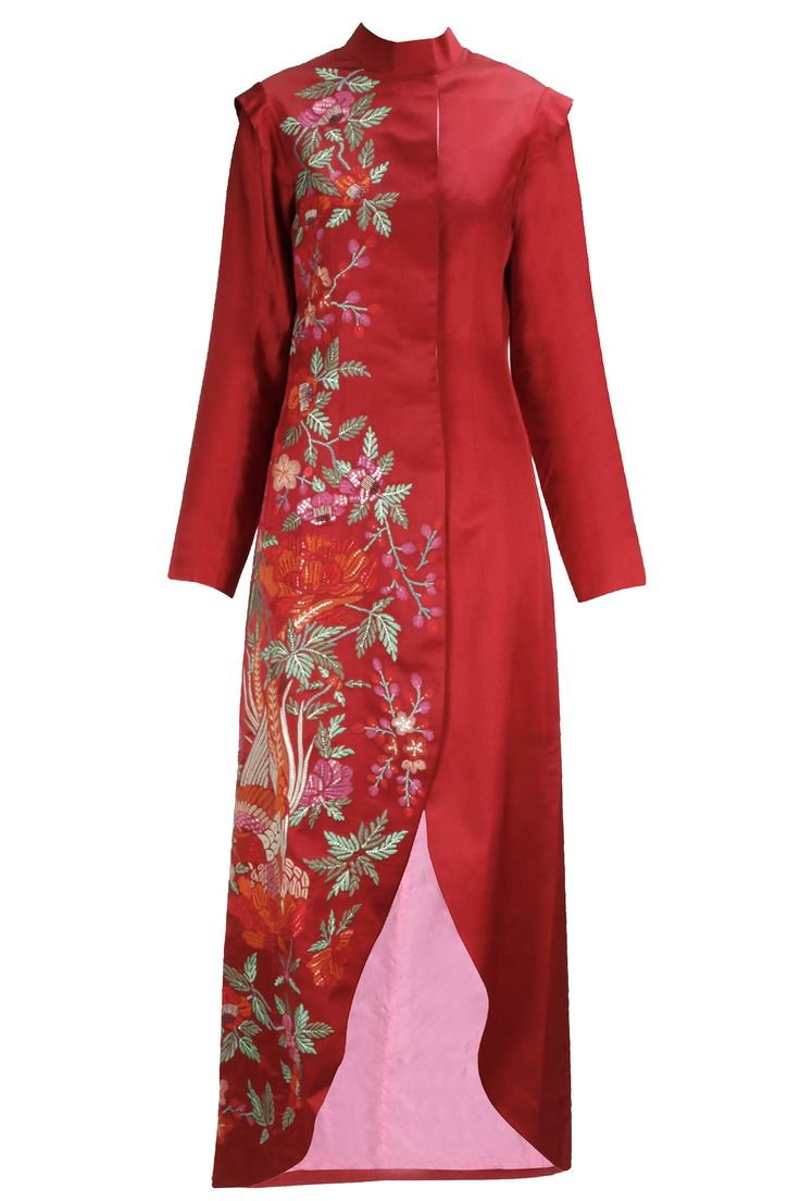 Red bird embroidery asymmetrical jacket available only at Pernia's Pop-Up Shop.