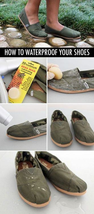 how to waterproof your shoes!    All you need is beeswax and a blow dryer!    -Rub beesewax all over your shoes    -Use the blow dryer to melt the wax    -Let sit for about 5 minutes while wax settles :)