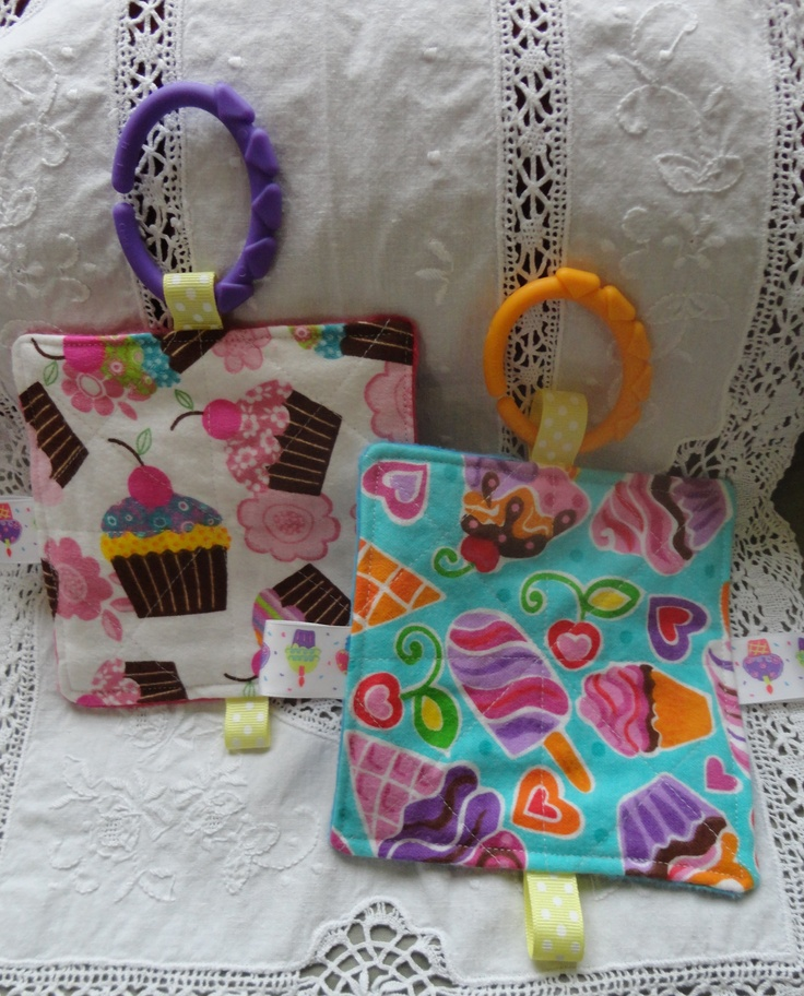 Toys For 7 Months And Up : Cute cupcake pattern flannel taggie toys for baby girls