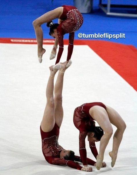 Sports acro gymnastic. Trio balance <3