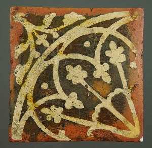 Medieval floor tile from Tintern Abbey. This item comes from: National Museums & Galleries of Wales (Item reference: 32.376/8).    This tile, produced between 1272 and 1300, would have formed part of a four tile design. Tile size: 134 x 133mm.