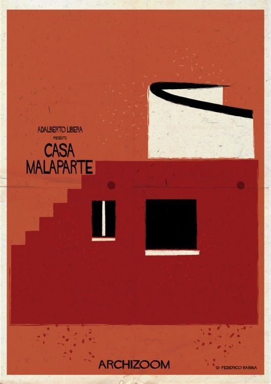 "Adalberto Libera - Casa Malaparte. Federico Babina is back with his latest illustration! This time, he explores 23 works of architecture through the lens of one interesting or intense detail that speaks to the character of the work as a whole. Seeing these illustrations as movie posters, which use visual imagery to suggest, insinuate, and convey ""the essence"" of the film, each illustration reflects the work and the architect's aesthetic overall."