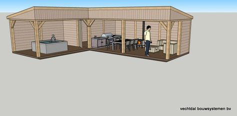 Ontwerp eikenhouten hoektuinhuis met overkapping en veranda Rotterdam