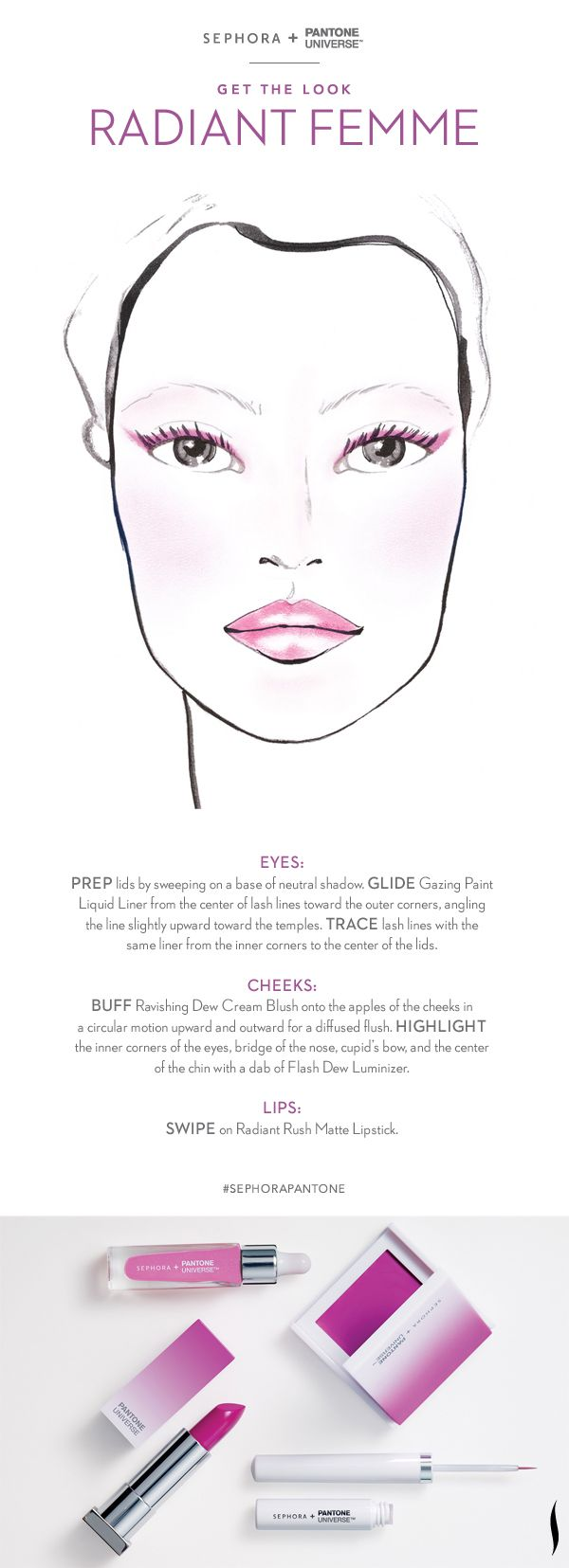 Soft shading meets graphic edge in this lush take on modern femininity. Look created with the #Sephora + @PANTONE COLOR COLOR OF THE YEAR Collection. #RadiantOrchid #howto #makeuptutorial #SephoraPantone
