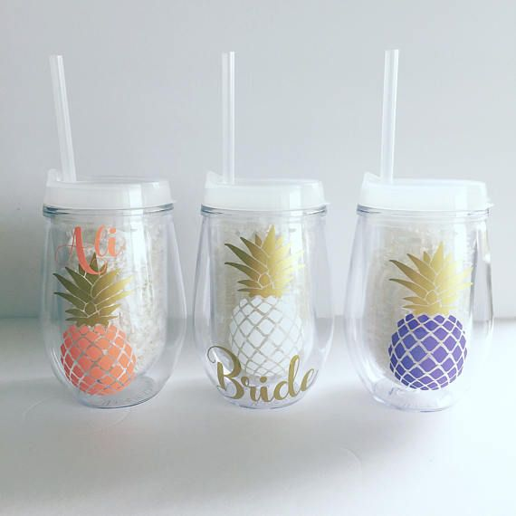 Stemless Tumbler - Pineapple - Personalized - Personalized Tumbler - Bride Tribe - Bachelorette Cups - Acrylic Tumbler
