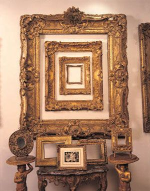 This is not an optical illusion, it's a fabulous custom frame, hung inside another frame, then another and another... Really highlighting the beauty of a classic, ornate frame. Even if you don't have antique frames to showcase, you can create a similar look with custom frames you select to suit your personal taste. Who says the frames themselves can't be art too?!?