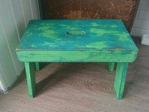 Vintage Holz Hocker Schemel türkis grün