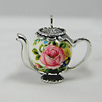 Japanese Decal Bead Miniature Teapots