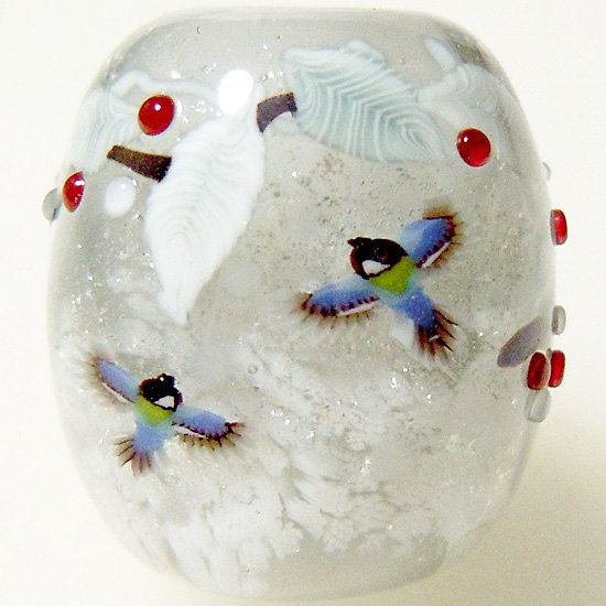 Japanese Tit Bird in Snow Satake Satake Glass by AyakoGlassGarden, ¥6000