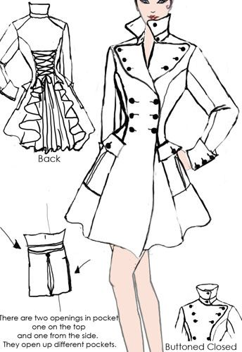 Victorian Coat  design By Amber Middaugh--  This pattern design won and is being made into a Virtual Prototype pattern by Chicstar.com.  #Vintage #victorian #Steampunk