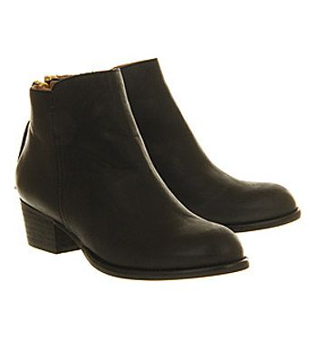 Office Uncanny Black Leather - Ankle Boots