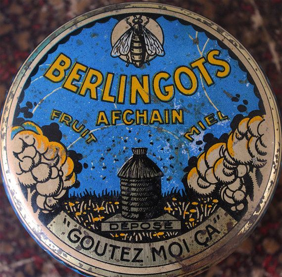 French antique candy tin box Berlingots by LaChineuseFrancaise