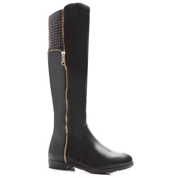 New Women's Winter Warm Camel Knee High Boots Zip Low Heel Black Fur