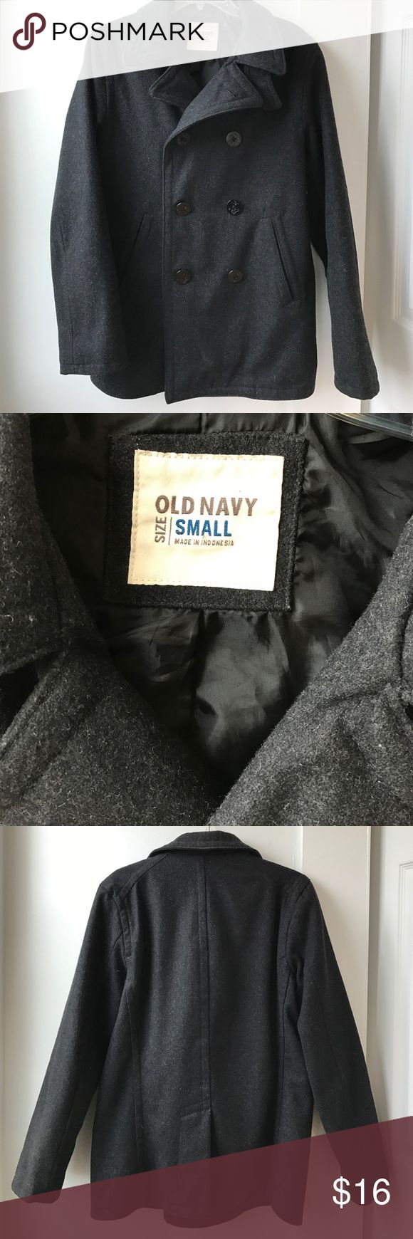 Old Navy men's peacoat Old Navy men's peacoat size small. Has two holes in inside lining, as pictured. Otherwise perfect condition! Old Navy Jackets & Coats Pea Coats