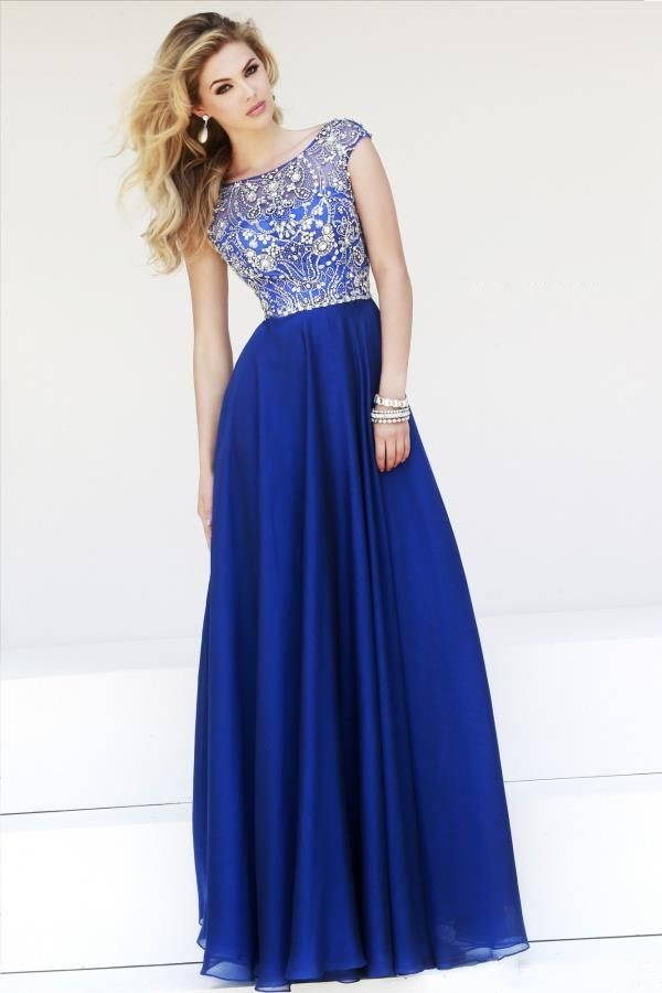 Modest Scoop Neck Cap Sleeves Long Chiffon Crystals Bead Royal Blue Evening Party Dress
