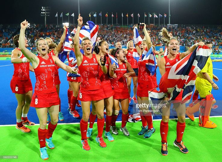 Team Great Britain celebrate after defeating Netherlands in the Women's Gold after penelty shots 2-0.