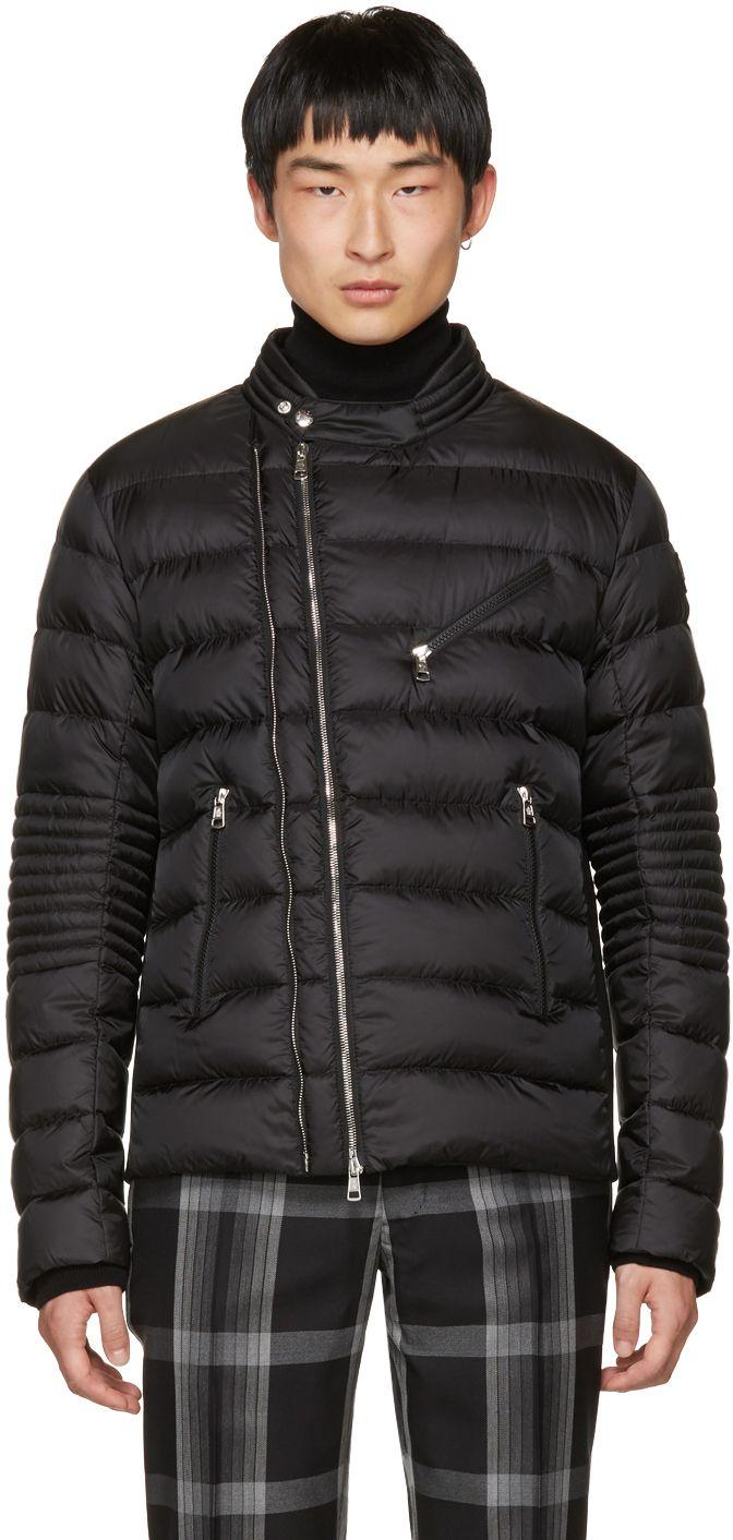 Moncler Black Down Aubin Biker Jacket SSENSE Stylish