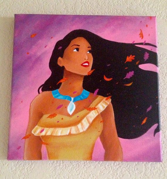 "SO in love with this one. 12""x12"" pocahontas painting"