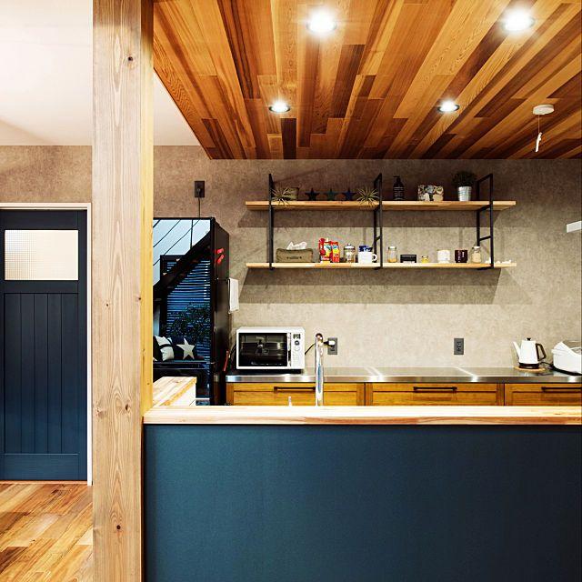 キッチン ウッドワン ウエスタンレッドシダー コンクリート風壁紙 黒板クロス などのインテリア実例 2018 09 17 11 52