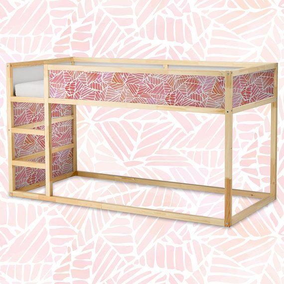 Decals voor Kura Bed Ikea Abstract aquarel patroon Sticker