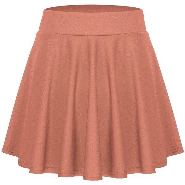 ACEVOG Women's Stretch Waist Flared Skater Skirt Dress Mini Skirt ($8.65) ❤ liked on Polyvore featuring skirts, mini skirts, flare skirts, elastic waist mini skirt, short brown skirt, brown skater skirt and flared hem skirt