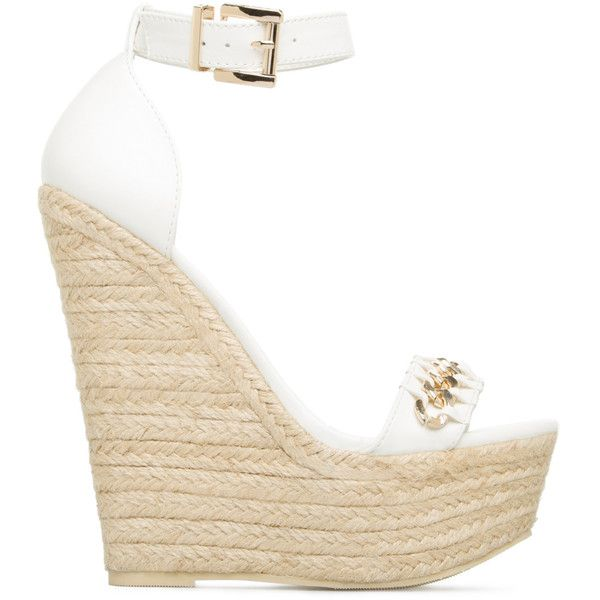 ShoeDazzle Wedge Leesha Womens White found on Polyvore featuring shoes, wedges, white, espadrille wedge shoes, white studded shoes, wedges shoes, espadrilles shoes and wedge heel shoes