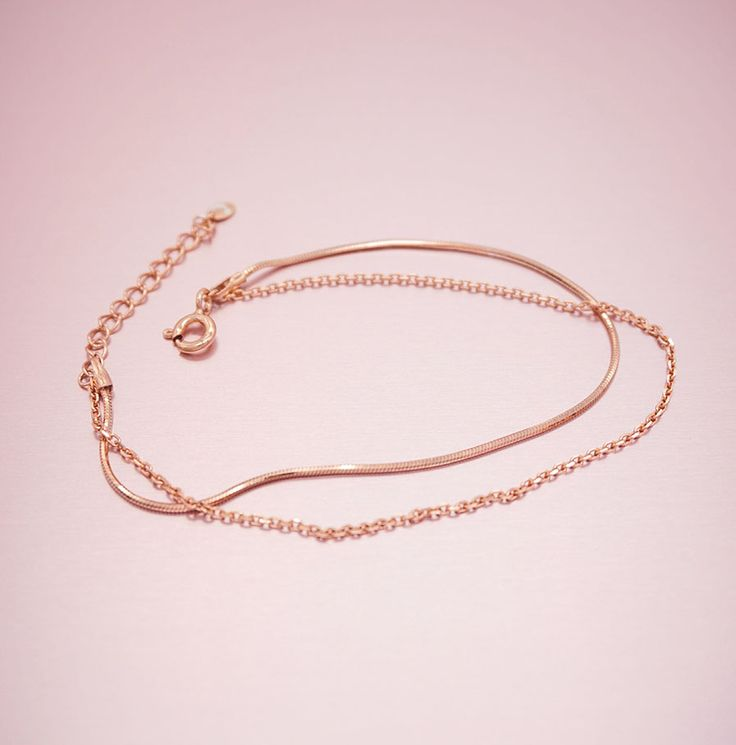 View our unique & luxury Double Snake Chain Rose Gold Sterling Silver Bracelet a perfect gift for a friend or yourself. Visit Oneiro Jewelry and shop today!