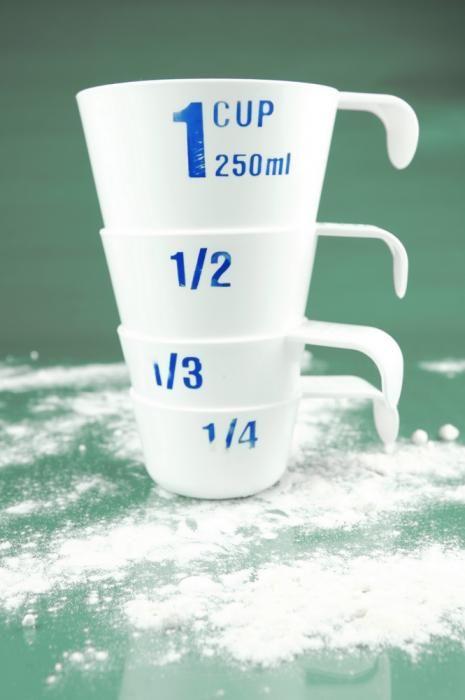 Mesurer et peser sans balance ou verre doseur - les équivalences en cuillère à soupe, pot de yaourt, verre...