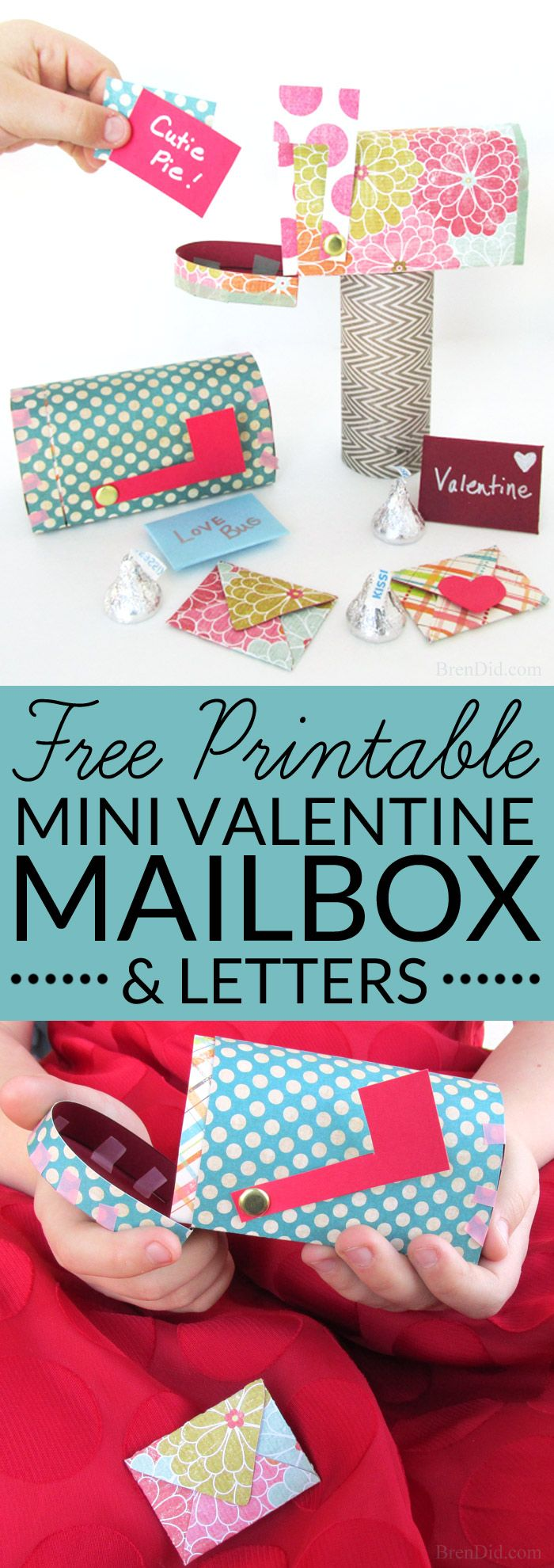 Send tiny love notes with this free Valentine Paper Craft set featuring a free printable Valentine mailbox and mini Valentine's Day cards. It's an easy Valentine craft that can be used to hold sweets or just sweet sentiments! Get the pattern and instructions at BrenDid.com.