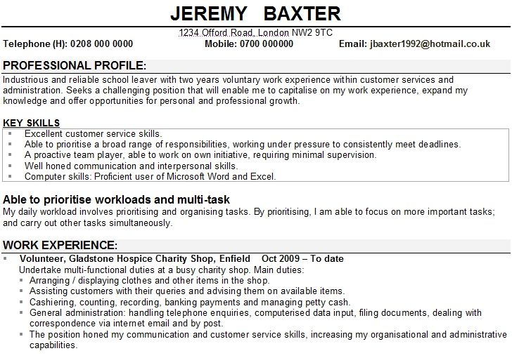 Cv Personal Statement For School Leaver Template What To Write On