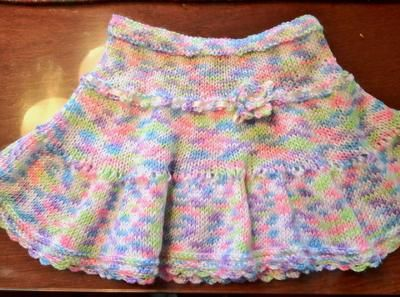Just knitted another one for my new neighbor's daughter: Pretty Girl Skirt In Simple Stockinette and eyelet Stitches Pattern Size: Can be customized to fit any ages. All you have to do is check your gauge and