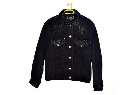 Vintage LAUREL Black Denim Jacket w/ Gold Details 80s 90s