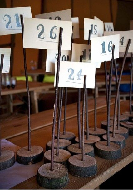 6 Wooden Table Number Holders  - Wedding - Rustic / Shabby Chic / Vintage  / Wood Numbers Tables