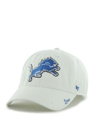 5458a25cd  47 Detroit Lions White Sparkle Clean Up Adjustable Hat.