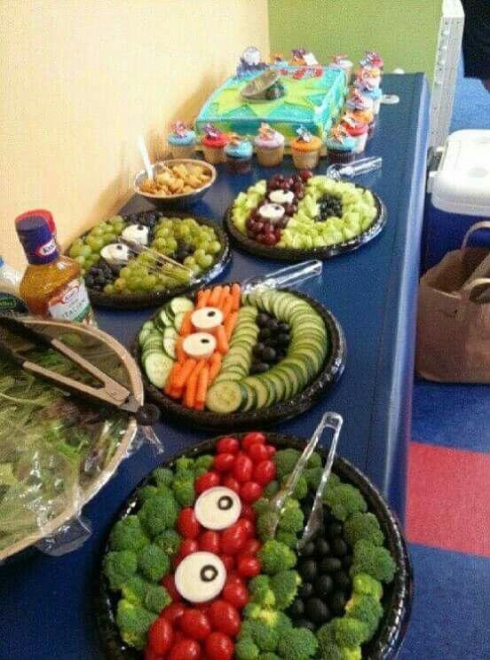 Schönes Gesundes Buffet Für Einen Ninja Turtles Kindergeburtstag