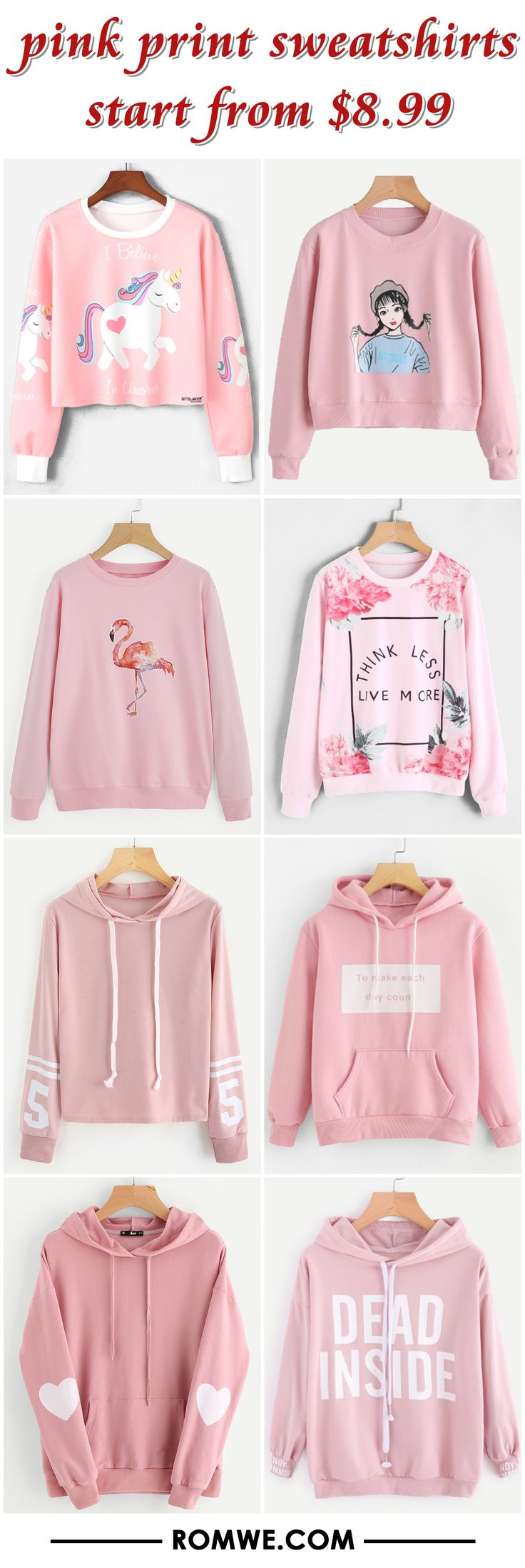 pink print sweatshirts from $8.99