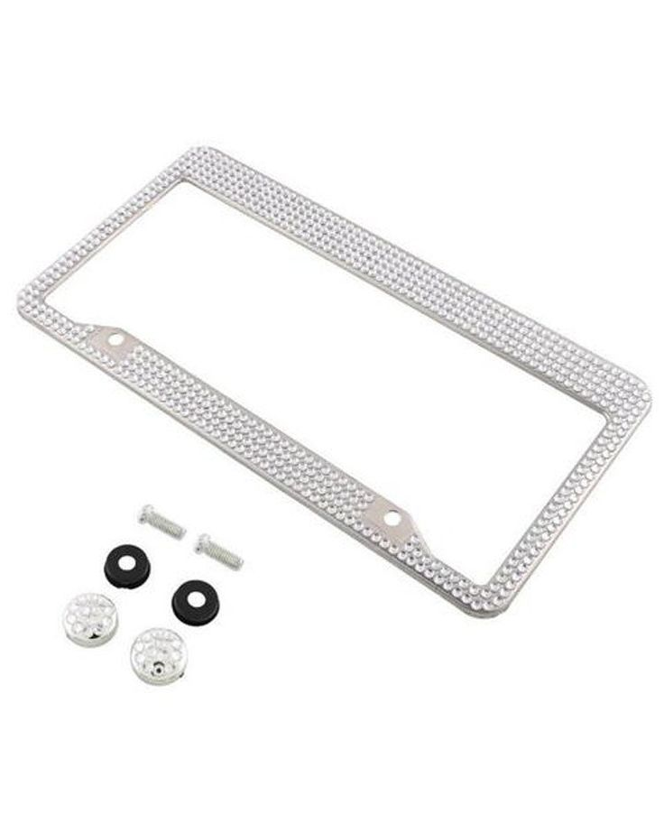 Car Accessories for Girls - Swarovski Rhinestone Sparkle Crystal License Plate Frames for Automobiles - Gifts for Girls = Luxoview.com