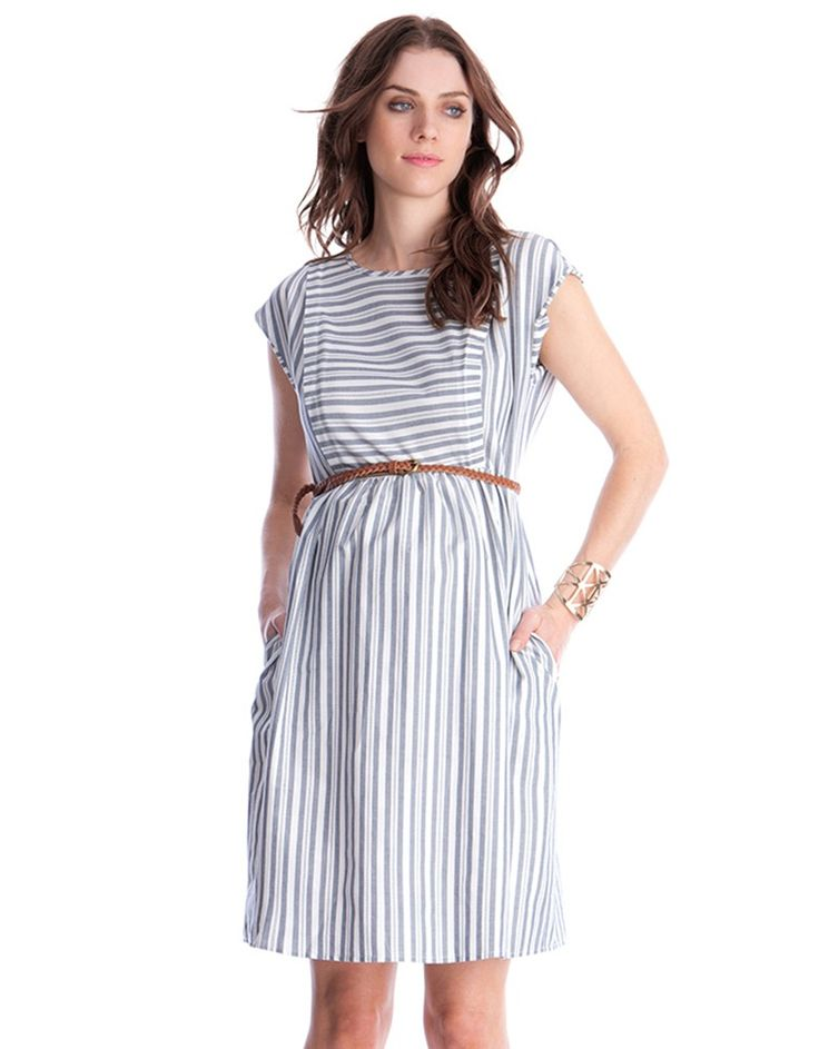 100% cotton   Invisible zip nursing access  Detachable self tie belt  Pockets   Keyhole detail back     Effortlessly chic, our Cotton Stripe Maternity & Nursing Dress puts a feminine new spin on the nautical trend. 100% cotton, this dress is gently elasticized at the back with a self tie belt to define your empire waist. After baby is born, the dress makes an easy transition into your nursing wardrobe, with invisible zippers to the sides providing easy access for breastfeeding. Flatteri...