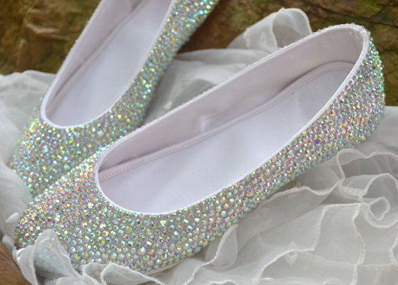 crystal bridal ballet flats ,comfortable bridal shoes , Bling wedding shoes on Etsy, $99.99