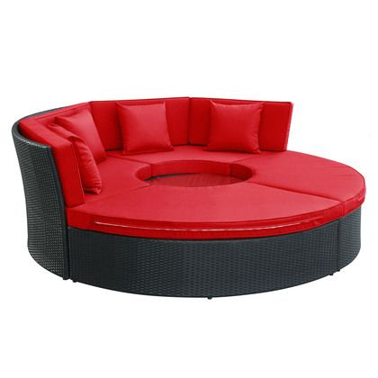 Modway Pursuit Circular Daybed Set in Espresso Red