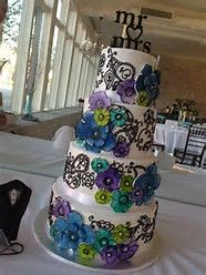 Image result for wedding cakes with tealand purple and green