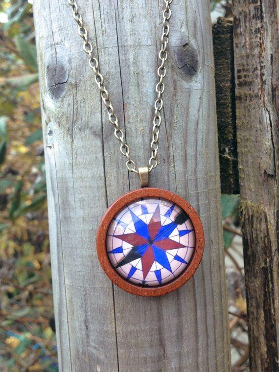 Pocahontas Compass Mahogany Pendant by Little Doe