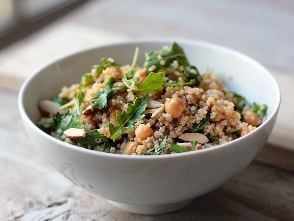 Quinoa and Chickpea Salad with Parsley, Almonds, and Tahini Lemon Vinaigrette