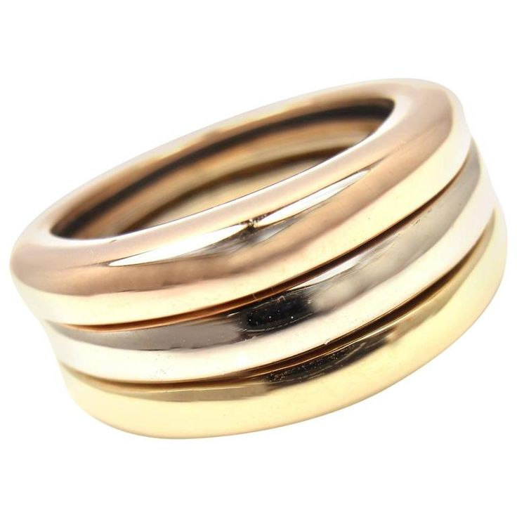 Cartier Stacking Three Band Tricolor Gold Ring | From a unique collection of vintage band-rings at https://www.1stdibs.com/jewelry/rings/band-rings/