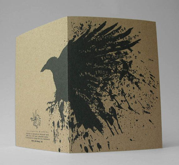 To Have the Knowledge of The Raven Art Card As Gaeilge in by Modru, €3.50