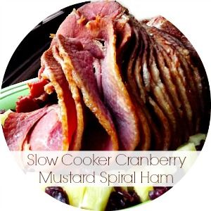 Slow Cooker Cranberry Mustard Spiral Ham. The end result is a fall off the bone tender ham with a sweet and tangy taste. Perfect for Thanksgiving and Christmas Eve (bonus: yummy leftovers for Christmas breakfast!).
