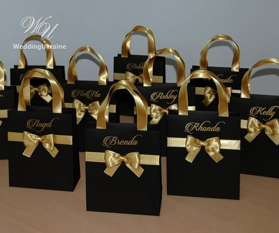 Black and Gold Bride Gift Bag Personalized Bridal Party Favors Tote Bridesmaid Gifts Wedding Welco
